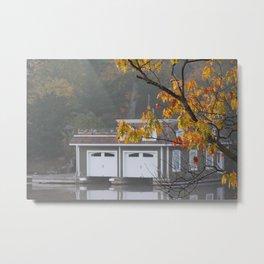 Fall Boathouse Metal Print