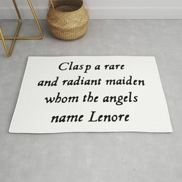 Poe The Raven Lenore Quote Gothic Rug