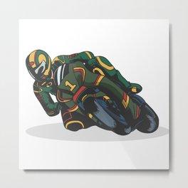 Motorcycle curve race Metal Print
