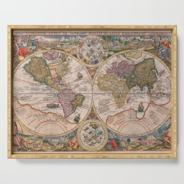 Vintage Map Print - 1594 double hemisphere world map by Petrus Plancius Serving Tray