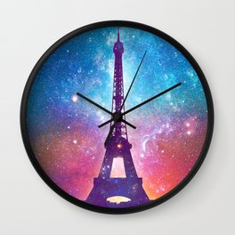 Eiffel Tower - Milky Way Collage Wall Clock