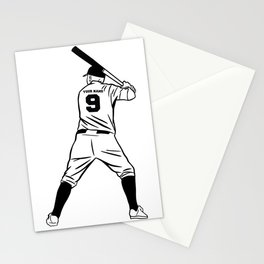 Baseball Player Number 9 Stationery Cards