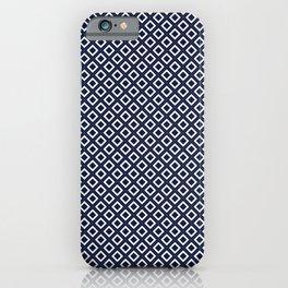 Art Deco Squares - Navy + Gold iPhone Case