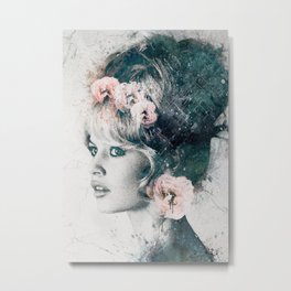 Brigitte Bardot with flowers Metal Print