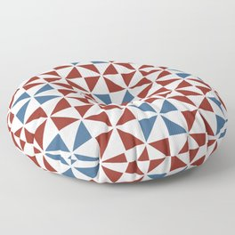 Pinwheel Quilt Pattern in Red and Blue Floor Pillow