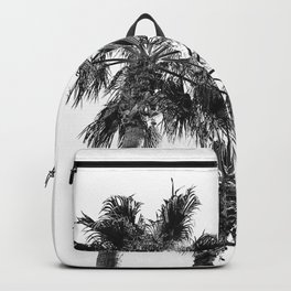Big Sur Palms | Black and White Palm Trees California Summer Sky Beach Surfing Botanical Photography Backpack