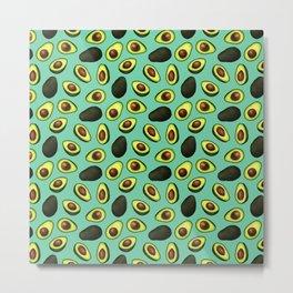 Dancing Millennial Avocados on Aqua, Ditsy print Metal Print