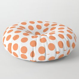 Orange and White Polka Dots 771 Floor Pillow