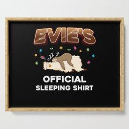 Evie Name Gift Sleeping Shirt Sleep Napping Serving Tray