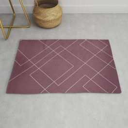Overlapping Diamond Lines on Mulberry Rug