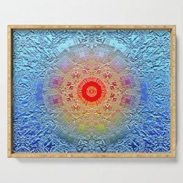 Rich elegant embossed blue metallic pattern and design with red center circle surrounded by detail Serving Tray