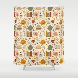 Flowery Books and Tea Shower Curtain