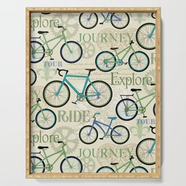 Bicycle Journey Blue Serving Tray