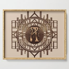 Art-Deco Pattern with letter A in Gold Serving Tray