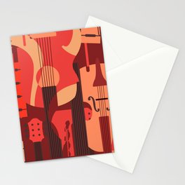String Music Instrument Pattern Stationery Cards