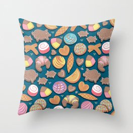 Mexican Sweet Bakery Frenzy // turquoise background // pastel colors pan dulce Throw Pillow