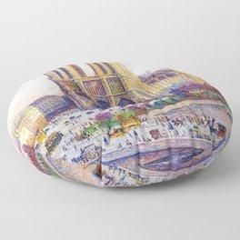 Quai Saint-Michel and Notre-Dame Paris landscape painting by Maximilien Luce Floor Pillow