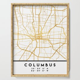 COLUMBUS OHIO CITY STREET MAP ART Serving Tray