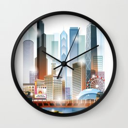 Chicago city skyline painting Wall Clock