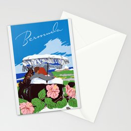 Colorful Blue Bermuda in Oleander Time Travel Stationery Cards