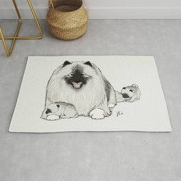 Keeshond with Puppies | Cute Keesie Dogs Family Rug