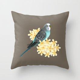 Blue Budgerigar Throw Pillow