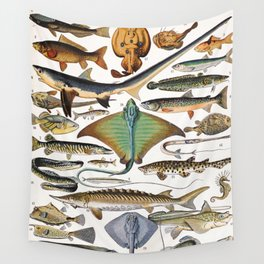 Adolphe Millot - Poissons A - French vintage nautical poster Wall Tapestry
