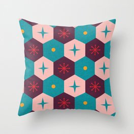 Honeycomb with atomic elements Pattern Throw Pillow