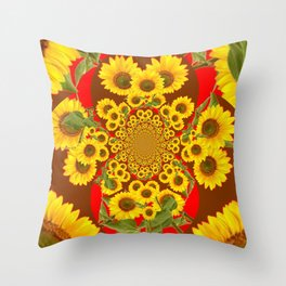 BROWN-RED SUNFLOWERS ABSTRACT Throw Pillow