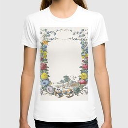 Letter with flower wreath and landscape with farm and animals (1829-1880) by Jos Scholz T-shirt