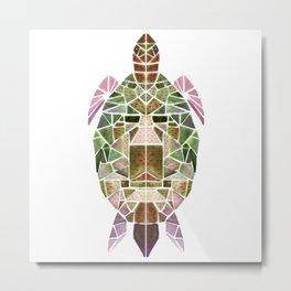green mosaic turtle Metal Print