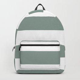 Valspar America Sea Green - Green Water - Zinc Blue Hand Drawn Fat Horizontal Stripes on White Backpack
