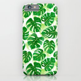 Tropical Leaves Watercolour | Green iPhone Case