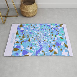 London England Colorful Map Blue Rug