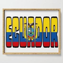 Ecuador Font With Ecuadorian Flag Serving Tray