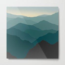 Teal Wanderlust Landscape Foggy Mountains Metal Print
