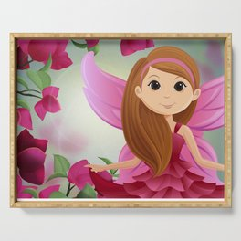 Pink Flower Fairy Serving Tray