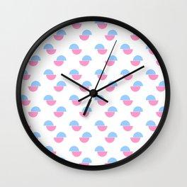 Wild polka dot 3- blue and pink Wall Clock
