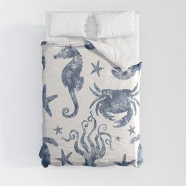 Delft Blue nautical Marine Life pattern, coastal beach Comforters