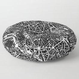 Madrid city map black&white Floor Pillow