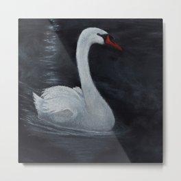 Moonlit Night Swan Metal Print