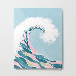 Surf X // Cali Beach Summer Surfing Rip Curl Gold Pink Aqua Abstract Ocean Wave Metal Print