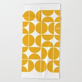 Mid Century Modern Geometric 04 Yellow Beach Towel