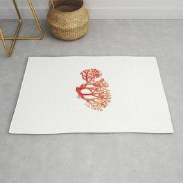 Coral watercolor painting print art botanical Rug