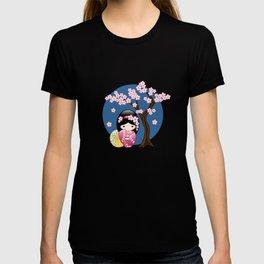 Japanese Spring Kokeshi Doll on Blue T-shirt
