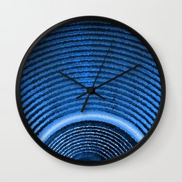 Blue music speaker and sound waves Wall Clock
