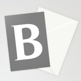 B MONOGRAM (WHITE & GRAY) Stationery Cards
