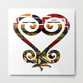 Red and Earthy African Print Sankofa Heart Metal Print
