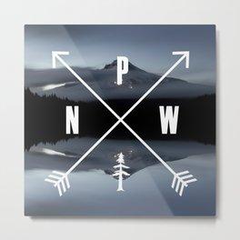PNW Pacific Northwest Compass - Mt Hood Adventure Metal Print