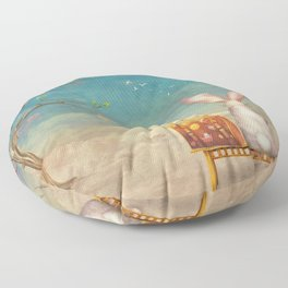 Sad rabbit  with suitcase sitting on the bench on the cloud in sky  Floor Pillow